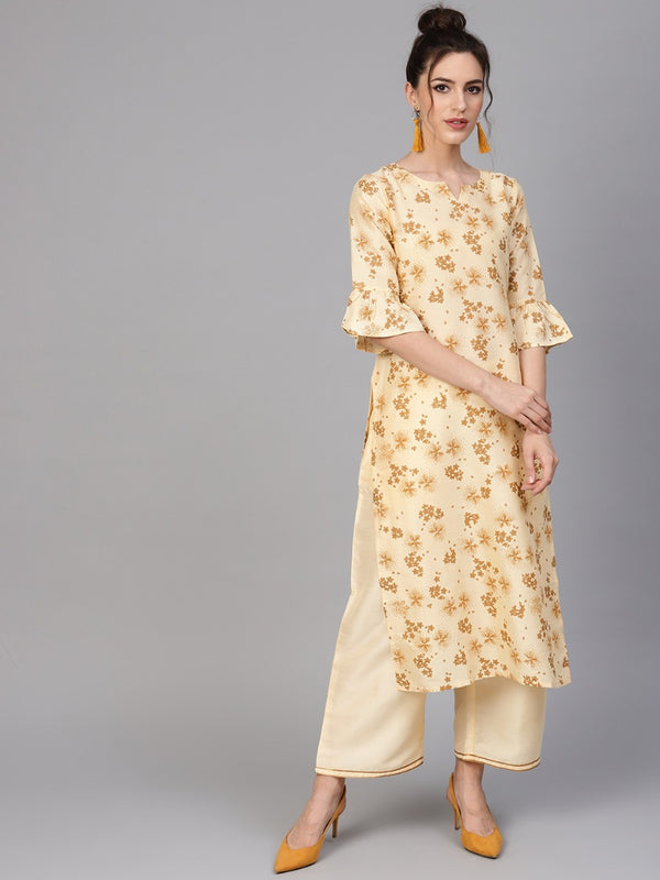 Yellow Chanderi Block Printed Kurta With Chanderi Pocket Palazzo