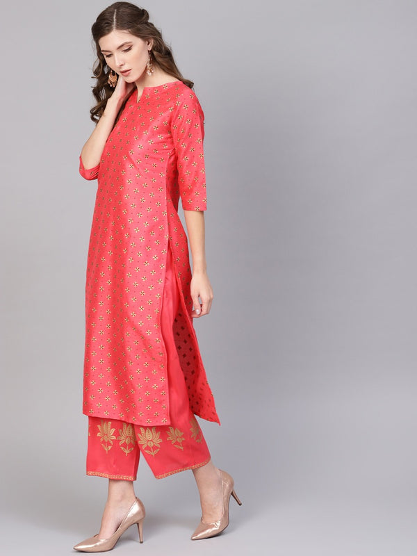 Pink Chanderi Block Printed Kurta With Chanderi Pocket Palazzo