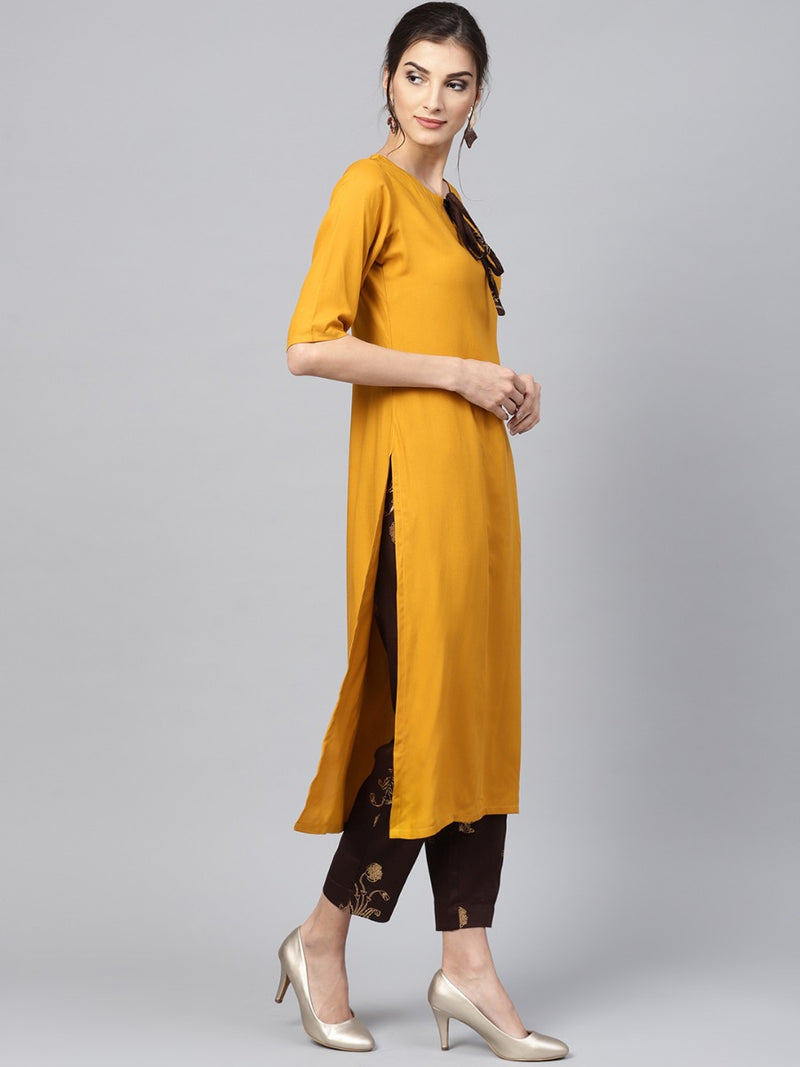Yellow Rayon Solid Straight Kurta With Brown Printed Trouser