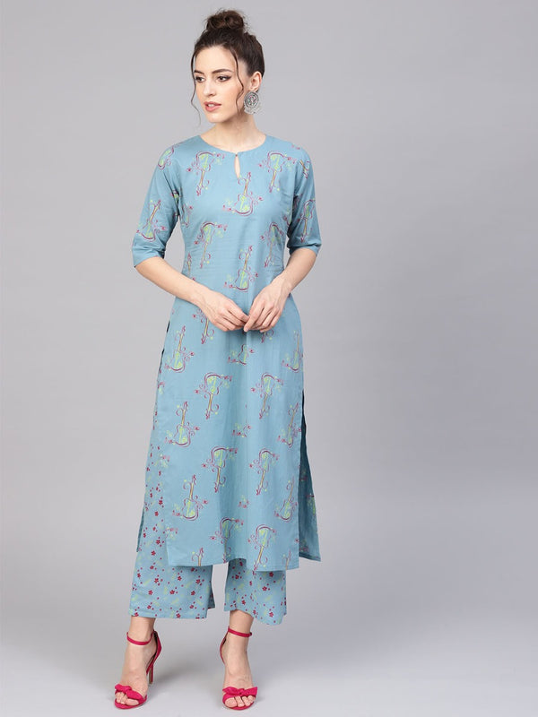Blue Cotton Printed Straight Kurta With Blue Printed Palazzo