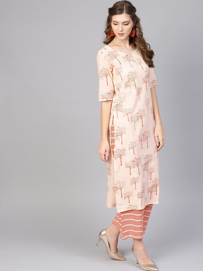 Pink Cotton Printed Straight Kurta With Pink Striped Palazzo