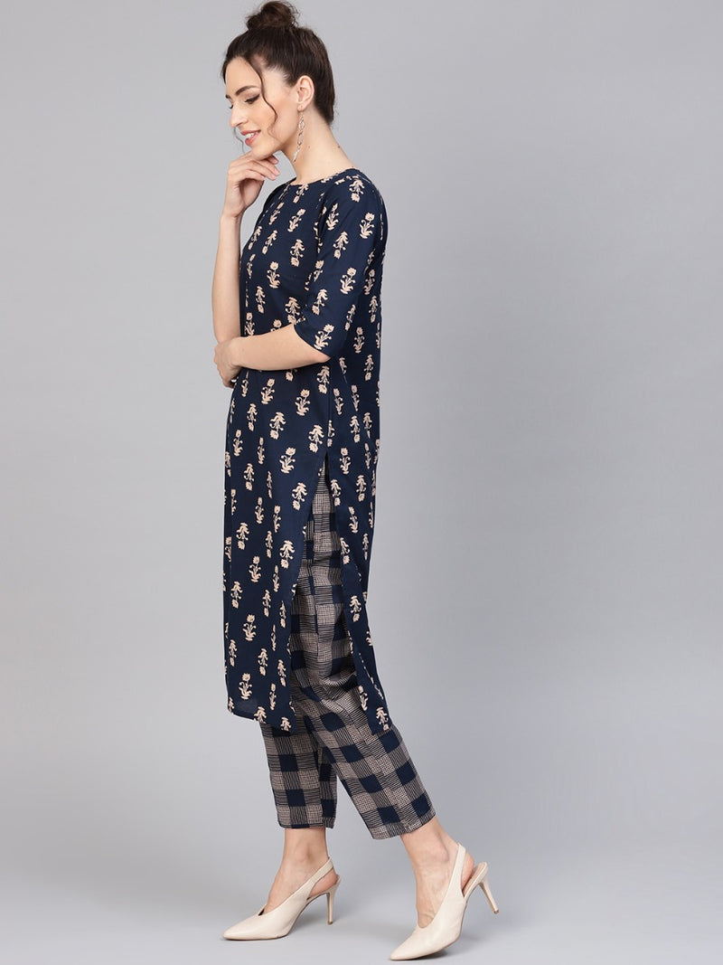 Blue Cotton Printed Straight Kurta With Blue Checkered Trouser