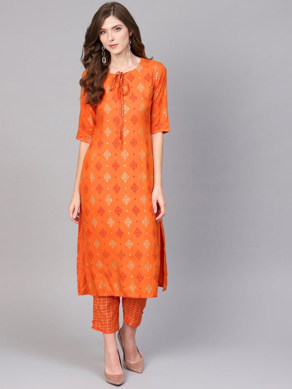 Orange Rayon Block Printed Kurta With Orange Block Printed Trouser