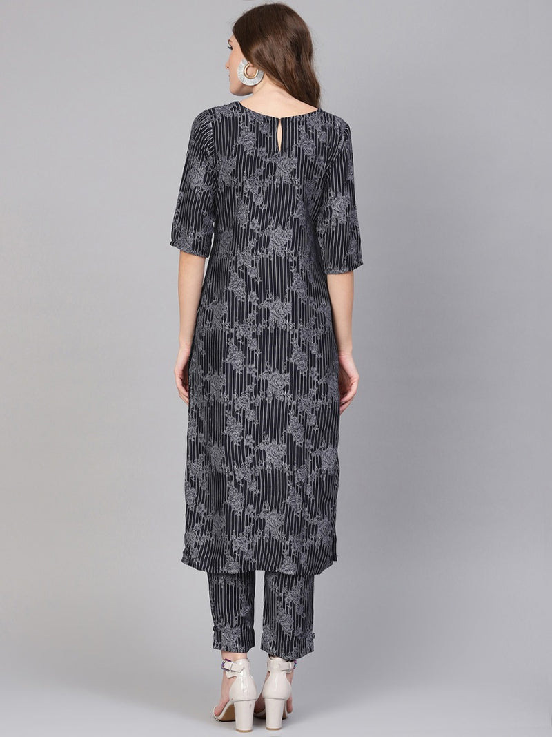 Blue Rayon Printed Straight Kurta With Blue Printed Trouser