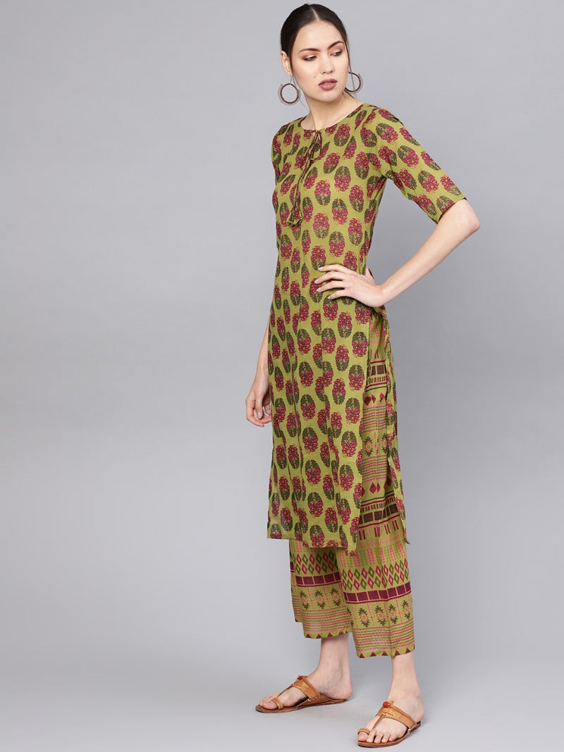 Green Cotton Printed Straight Kurta With Green Printed Palazzo