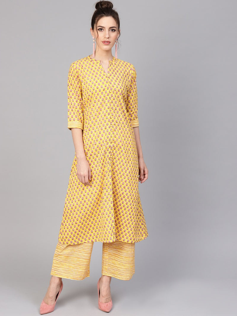 Yellow Cotton Printed Aline Kurta With Yellow Striped Palazzo