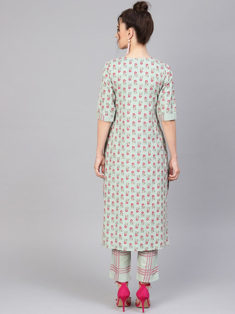 Green Cotton Printed Straight Kurta With Green Checkered Trouser