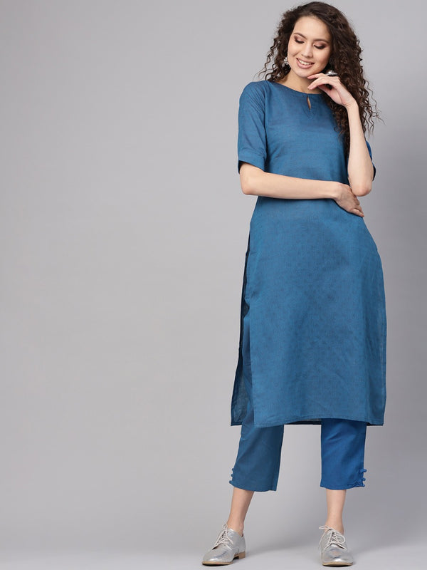 Blue Cotton Self Design Straight Kurta With Blue Cotton Solid Trouser With Both Side Pocket