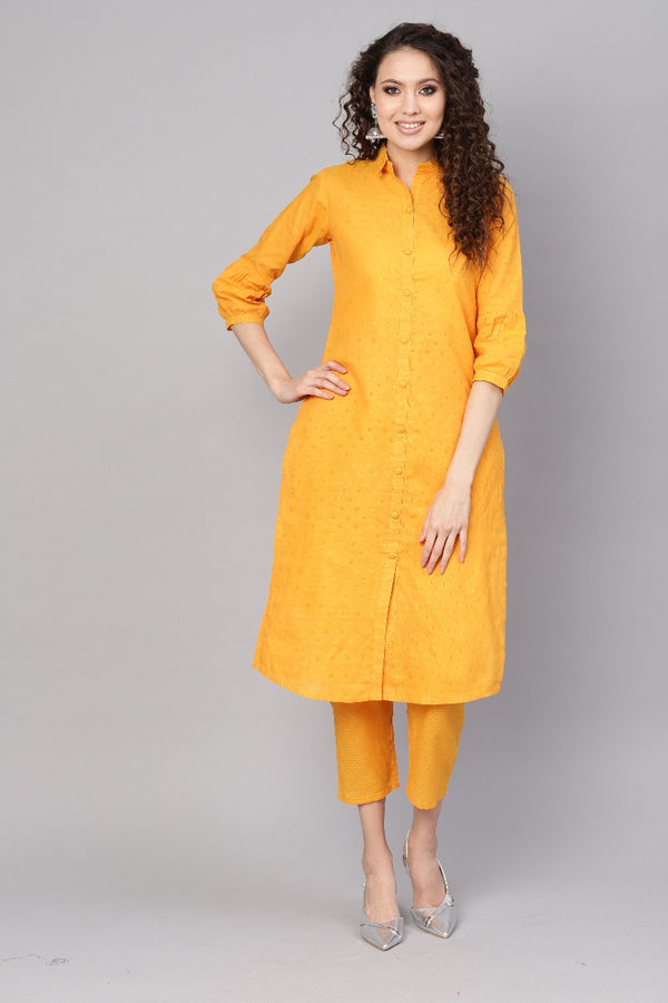 Yellow Cotton Self Design Straight Kurta With Yellow Cotton Self Printed Trouser With Both Side Pocket