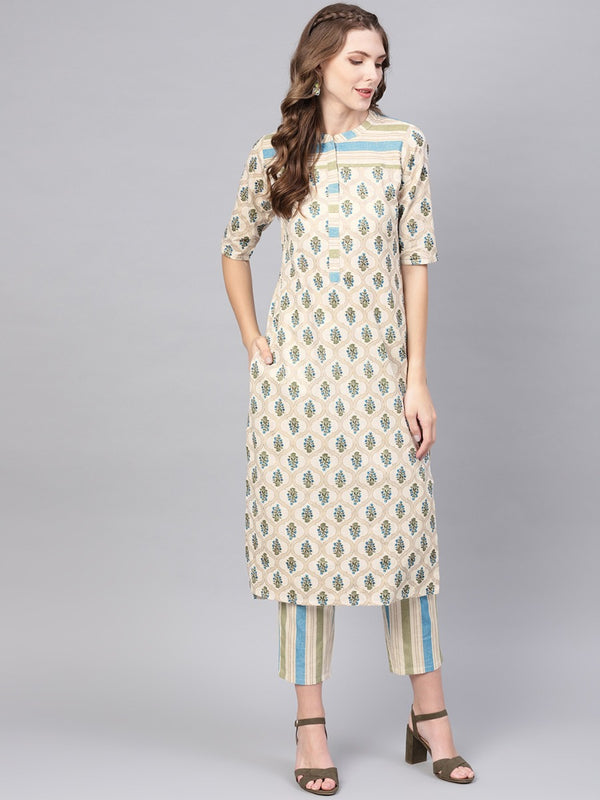 Multi Cotton Printed Straight Kurta With Multi Striped Trouser