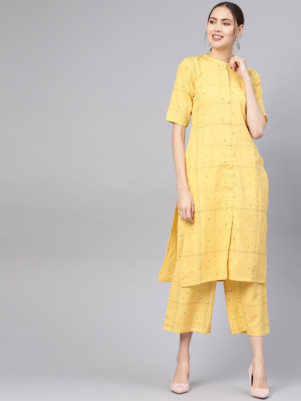 Yellow Cotton Checkered Straight Kurta With Yellow Checkered Palazzo