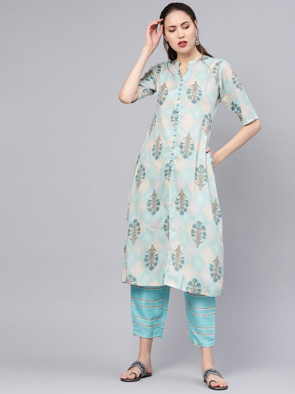 Multi Cotton Printed A-line Kurta With Blue Striped Trouser