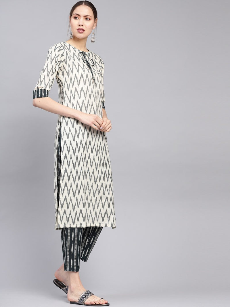 Green Cotton Printed Straight Kurta With Green Cotton Printed Trouser