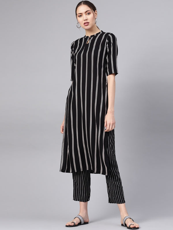 Black Rayon Striped Straight Kurta With Black Striped Trouser