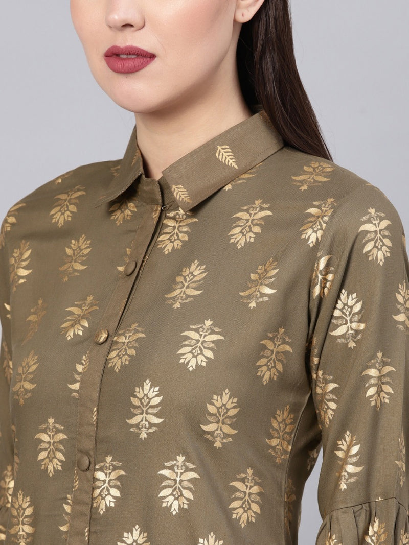 Brown Rayon Block Printed Straight Kurta With Brown Printed Trouser