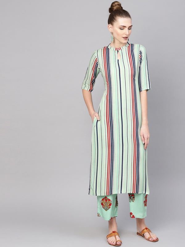 Multi Striped Rayon Straight Kurta With Green Rayon Printed Palazzo With Both Side Pocket