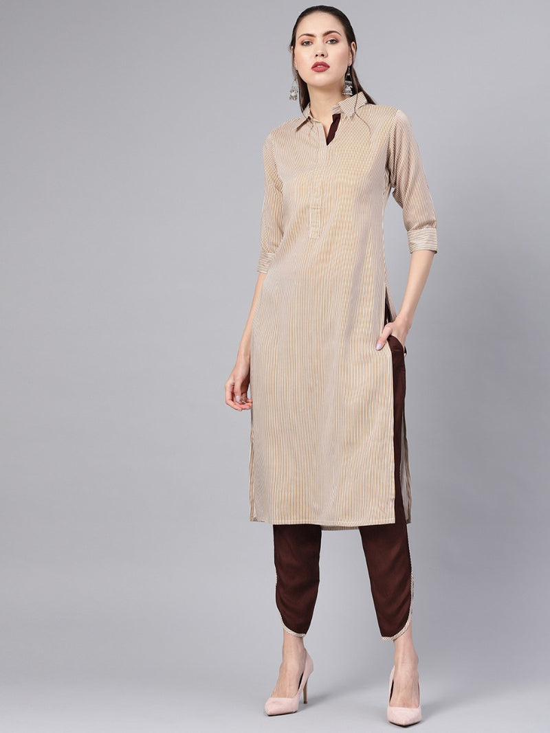 Brown Striped Cotton Straight Kurta With Brown Solid Trouser