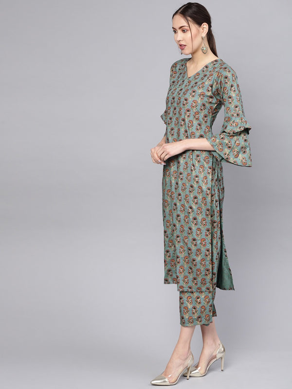 Green Cotton Block Printed Straight Kurta With Green Printed Palazzo