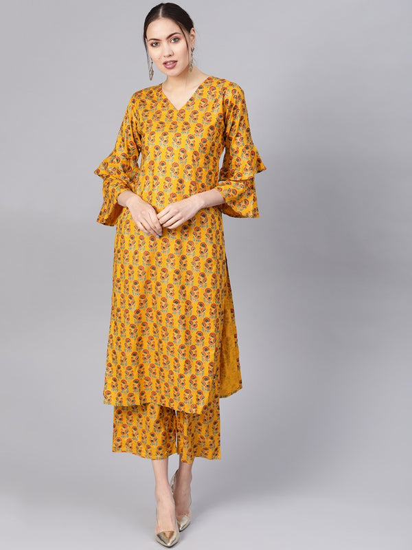 Yellow Cotton Block Printed Kurta With Yellow Printed Palazzo