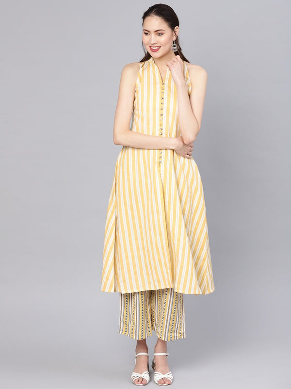 Yellow Cotton Striped A-line Kurta With Yellow Striped Palazzo