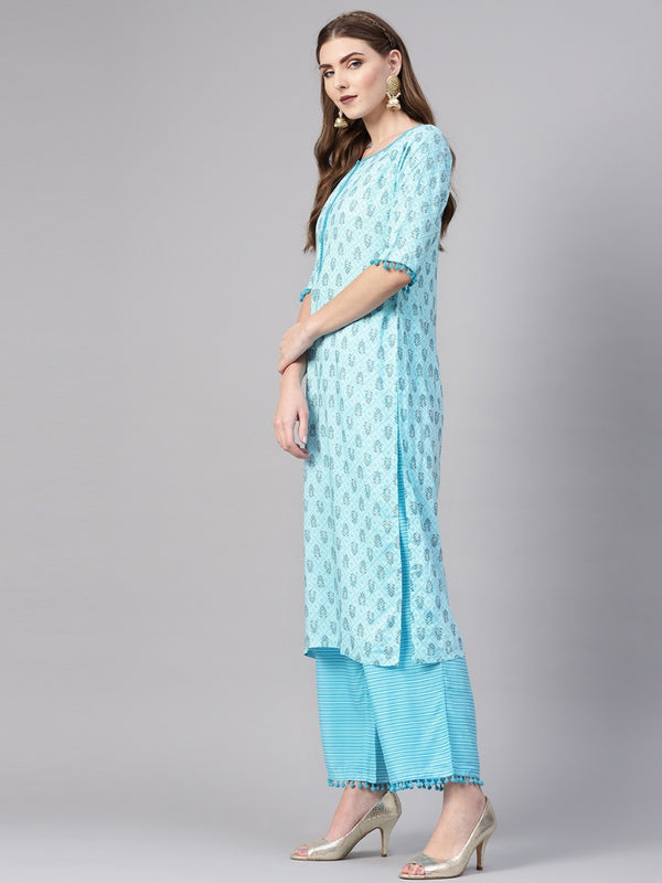 Blue Rayon Printed Straight Kurta Sets With Blue Rayon Striped Palazzo With Both Side Pocket