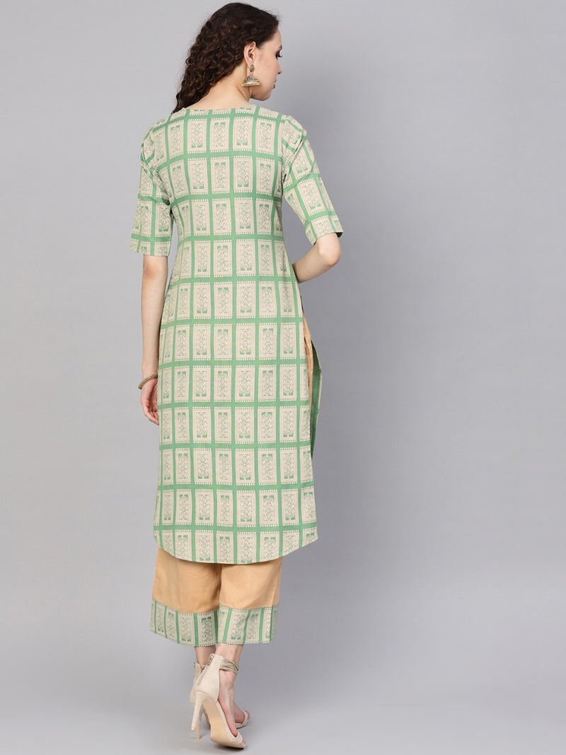 Green Cotton Block Printed Straight Kurta With Beige Cotton Solid Palazzo With Printed Border