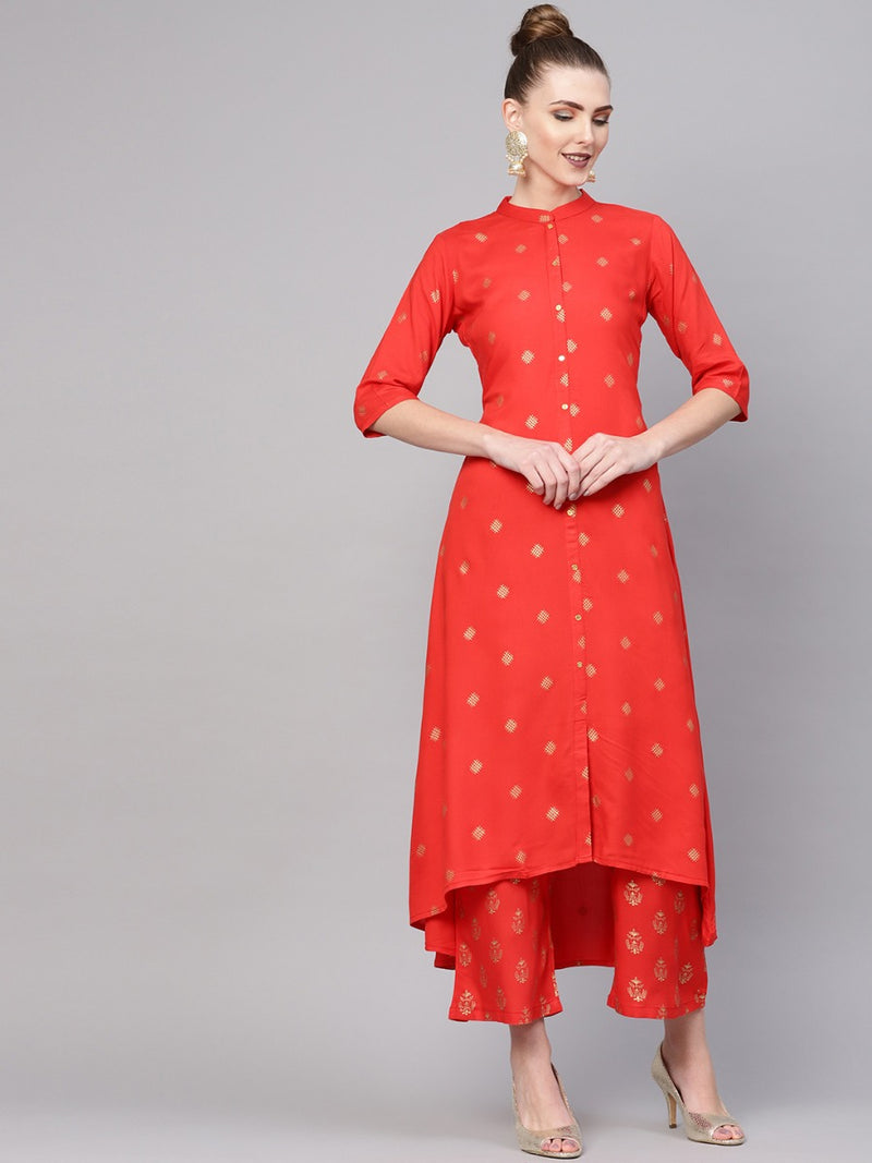 Red Rayon Block Printed A-line Kurta With Red Rayon Block Printed Palazzo With Both Side Pocket