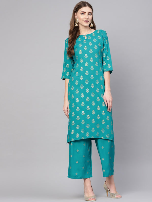 Blue Rayon Block Printed Straight Kurta With Blue Rayon Block Printed Palazzo With Both Side Pocket
