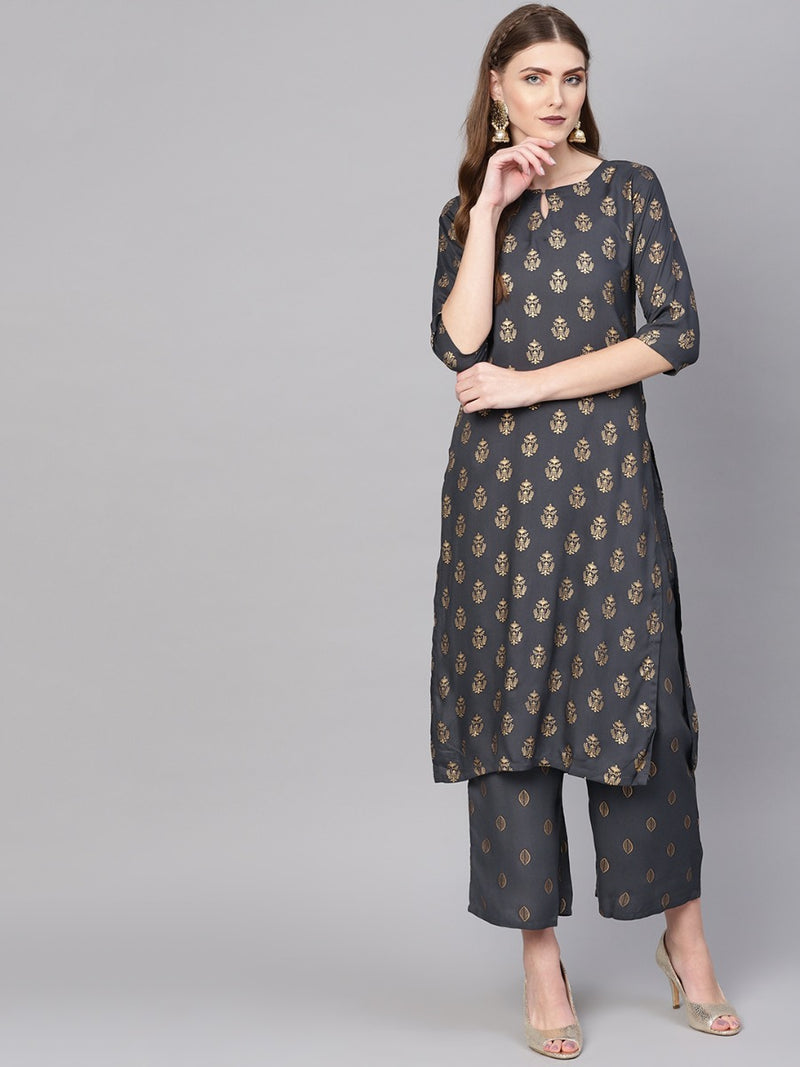 Grey Rayon Block Printed Straight Kurta With Grey Rayon Block Printed Palazzo With Both Side Pocket