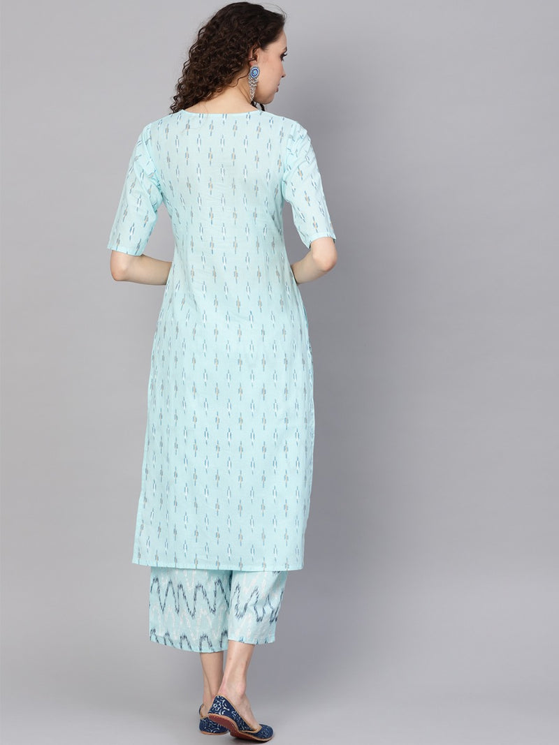 Blue Cotton Printed Straight Kurta With Blue Cotton Printed Palazzo With Both Side Pocket