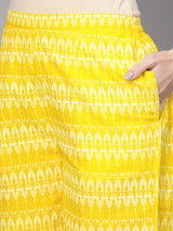 Yellow Cotton Printed Aline Kurta With Yellow Cotton Printed Palazzo With Both Side Pocket
