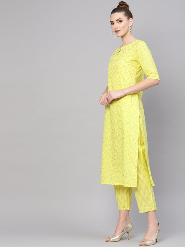 Green Cotton Block Printed Straight Kurta With Green Cotton Printed Trouser With Both Side Pocket