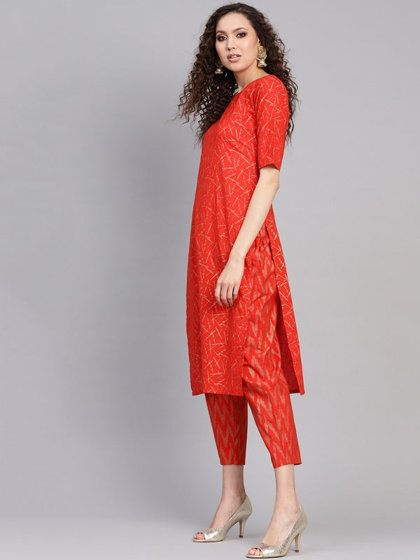 Red Cotton Block Printed Straight Kurta With Red Cotton Printed Trouser With Both Side Pocket