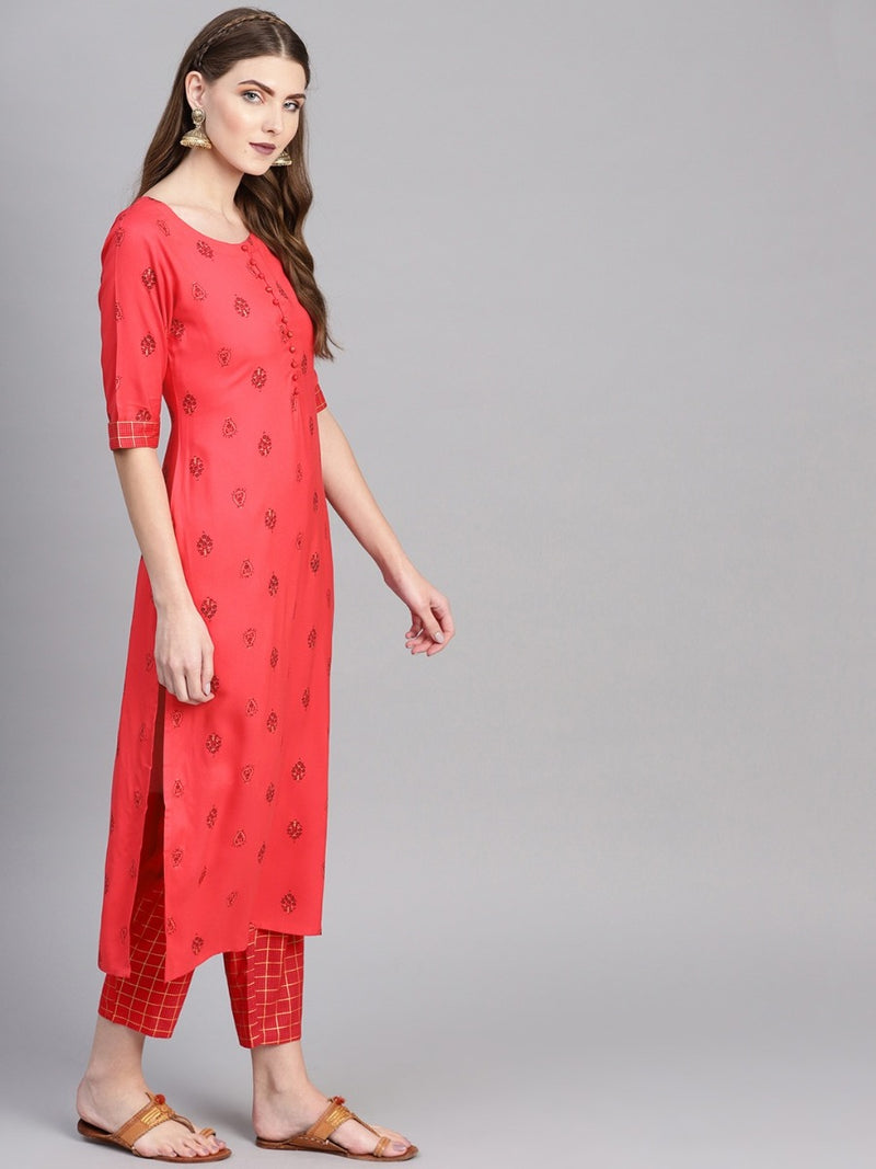 Pink Rayon Printed Straight Kurta With Pink Rayon Checkered Trouser With Both Side Pocket