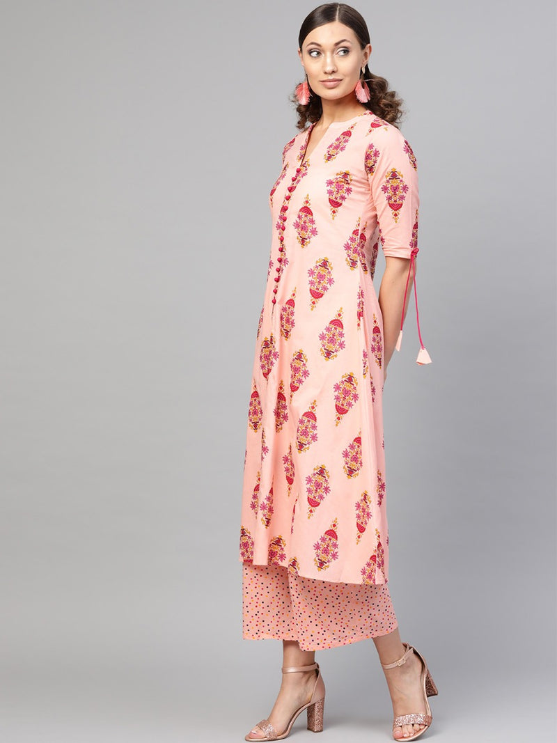 Pink Cotton Printed A-Line Kurta With Pink Cotton Printed Palazzo With Both Side Pockets