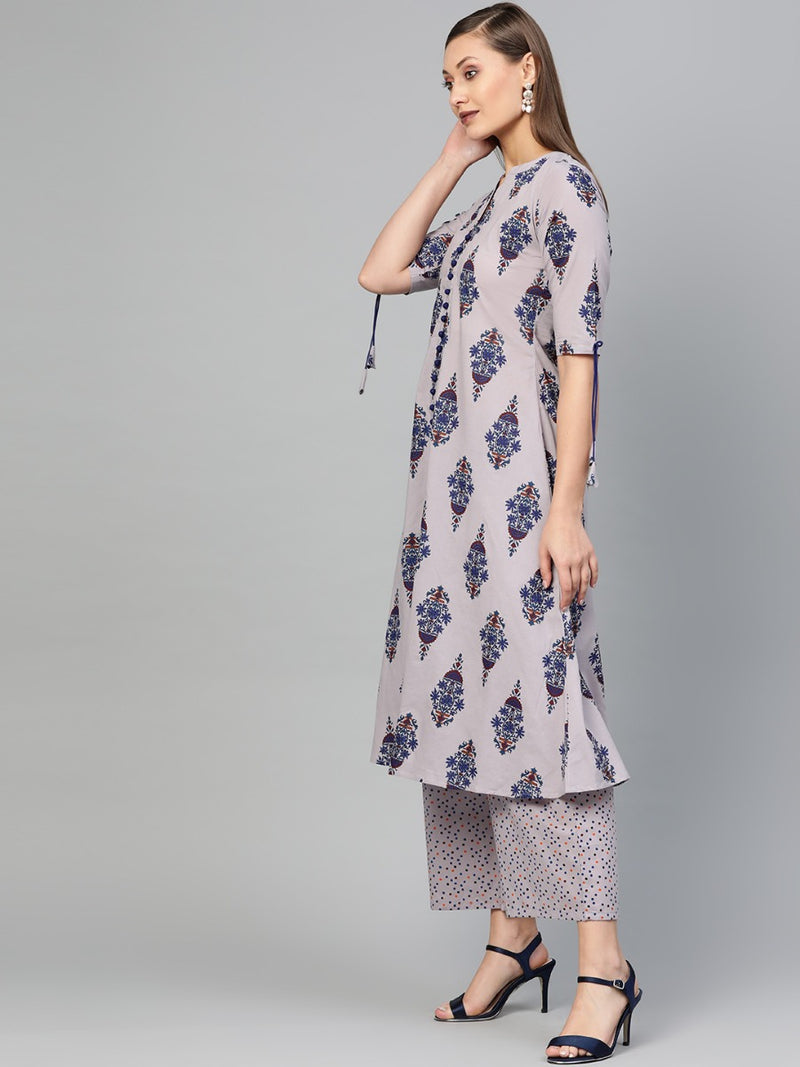 Grey Cotton Printed A-Line Kurta With Grey Cotton Printed Palazzo With Both Side Pocket