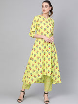 Yellow Cotton Block Printed High-Low Kurta With Yelllow Cotton Striped Trouser With Both Side Pocket