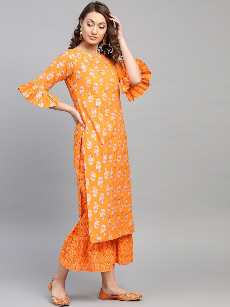 Yellow Cotton Block Printed Straight Kurta With Yellow Cotton Printed Frill Palazzo With Both Side Pocket