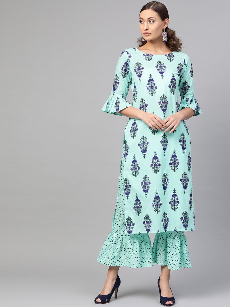 Blue Cotton Printed Straight Kurta With Blue Cotton Printed Frill Palazzo With Both Side Pocket