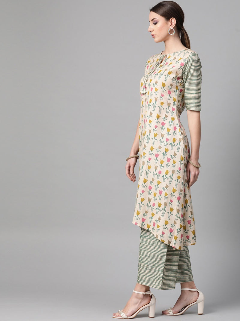 Multi Linen Printed High-Low Kurta With Palazzo