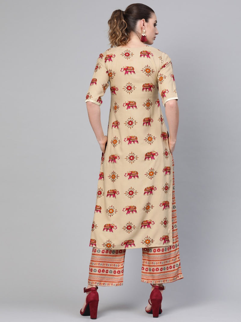Beige Rayon Block Printed Straight Kurta With Multi Printed Rayon Palazzo With Both Side Pocket