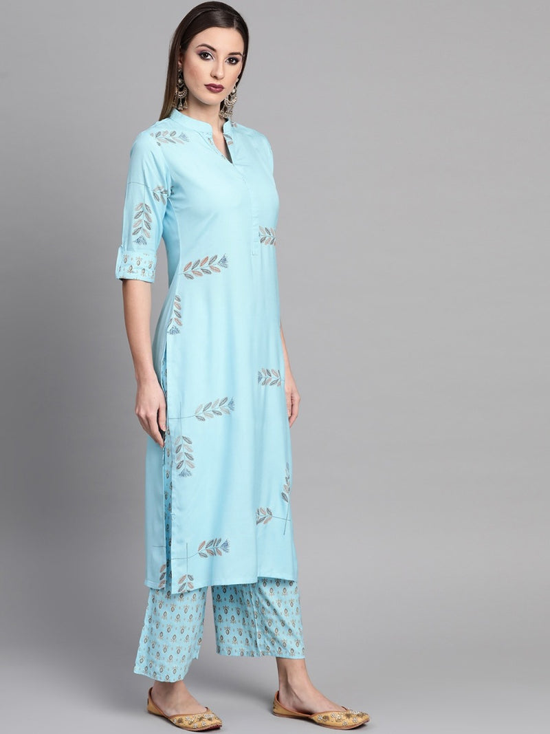 Blue Rayon Block Printed Straight Kurta With Palazzo