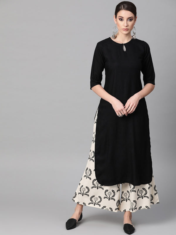 Black Rayon Solid Straight Kurta With Palazzo