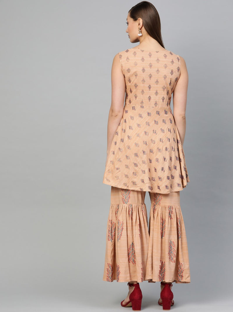 Beige Cotton Block Printed A-line Short Kurti With Beige Cotton Block Printed Sharara