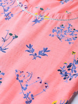 Pink Cotton Printed A-line Kurta With Palazzo