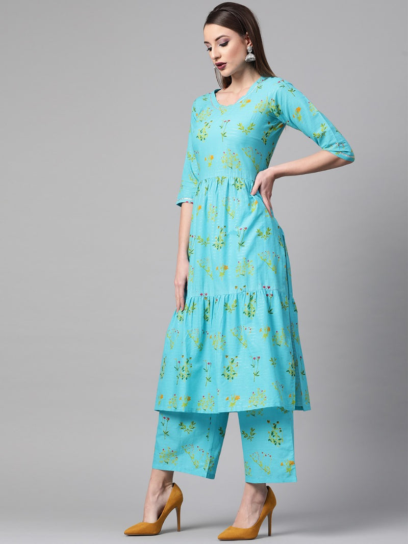 Blue Cotton Printed A-line Kurta With Printed Palazzo