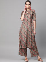 Multi Printed Chanderi Straight Kurta With Palazzzo