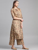 Multi Chanderi Printed Kurta With Palazzo