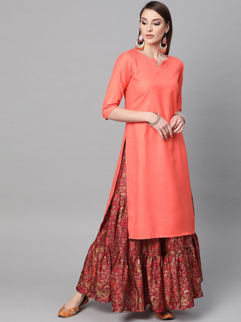 Pink Cotton Solid Straight Kurta With Flared Skirt