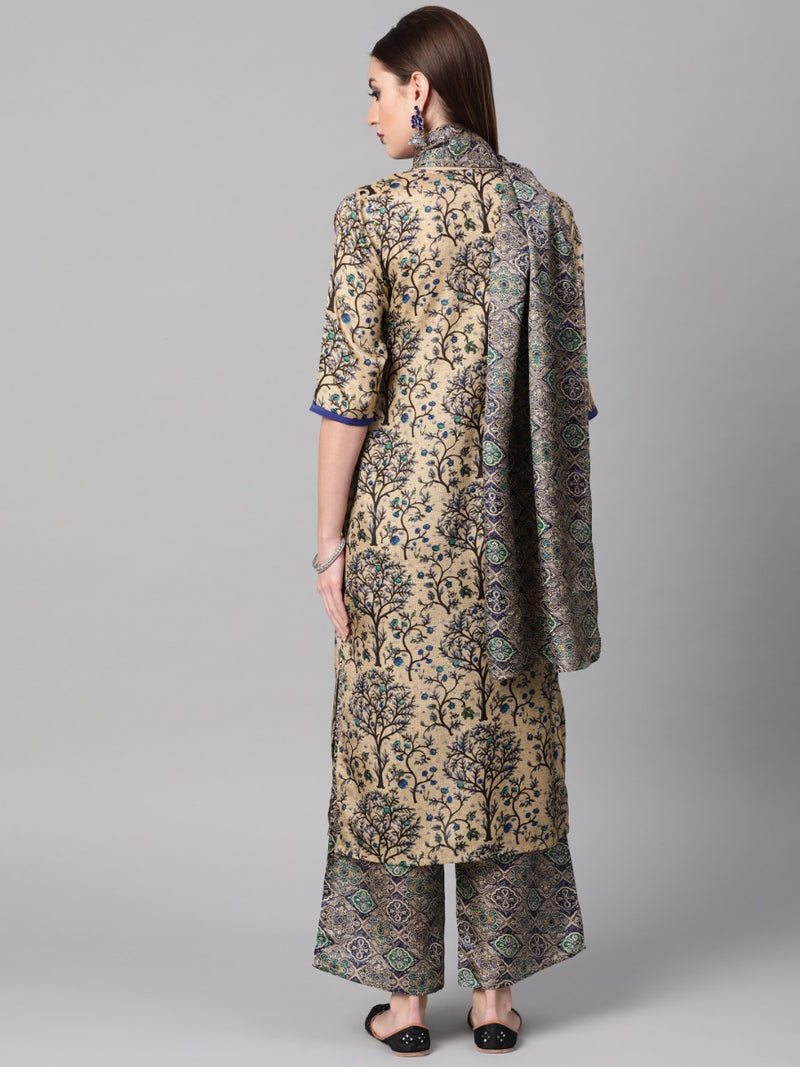Multi Chanderi Printed Straight Kurta With Palazzo And Stole